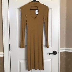 NWT Ribbed Dress in Mustard